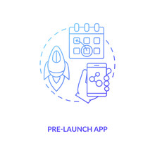 Pre Launch App Concept Icon. App Marketing Tips. Alpha Application Before Real One. Demo Version Of Your Product Idea Thin Line Illustration. Vector Isolated Outline RGB Color Drawing