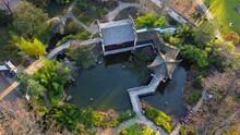 """Drone Flight Over """"Garten Des Himmlischen Friedens, Chinesischer Garten""""/ Chinese Garden In Frankfurt Am Main, Hessen, Germany."""
