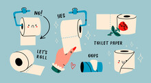Various Toilet Paper Rolls With Faces, Empty Tube. Cute Funny Characters. Hygiene, WC, Restroom, Household Concept. Cartoon Style. Hand Drawn Trendy Vector Illustration. All Elements Are Isolated.