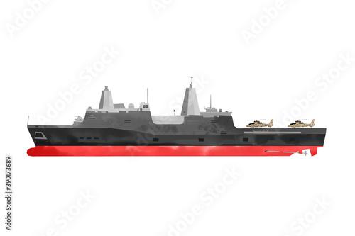 Watercolor warship Canvas