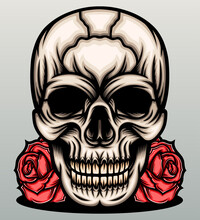 Skull Head With Red Roses