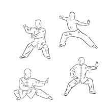 Chinese Vector Shaolin Monk In Kung Fu Pose, Wearing An Orange Traditional Dress With Hand Drawn Kung Fu Lettering. Kung Fu Fighter Vector Sketch Illustration