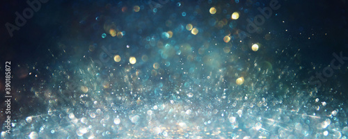 Obraz background of abstract glitter lights. silver, blue and black. de focused - fototapety do salonu