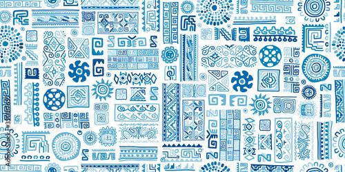 Fototapeta Ethnic blue handmade ornament, seamless pattern obraz