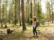 Girl (4-5) Walking In Forest With Lantern, Wasatch-Cache National Forest