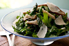 Close Up Of Asparagus And Mushroom Salad Served In Bowl