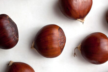 Close Up Of Chestnuts On Table