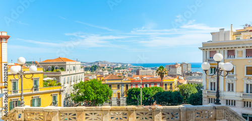 Fotografering Panoramic view of Cagliari seen from Saint Remy bastion