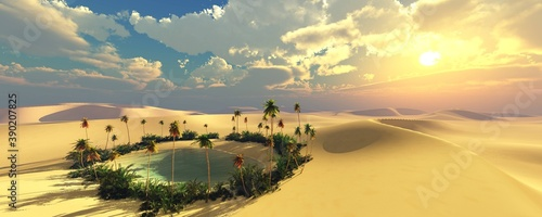 Foto Oasis in the desert of sand at sunset, Sunset in the desert, oasis with palm tre