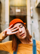 Cute Woman With Closed Eyes