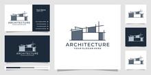 Architecture Vector Template, Real Estate Logo Design Symbols And Business Card. Premium Vector