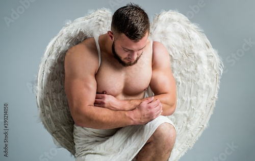 handsome man wear feather cupid angel wings for valentines day, valentine Billede på lærred