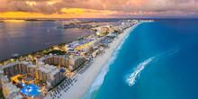 Cancun Beach During Blue Hour