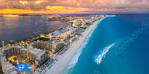Cancun beach during blue hour