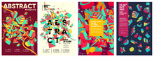 Vector Graphics. Set Of Abstract Posters. Geometrical Figures Are Chaotically Scattered In The Background.