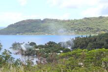Smoke Rising Above The Jungle, In Bora Bora