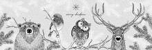 Black And White Illustration Of Cute Forest Animals In Winter - Hand Drawn Christmas Banner - Merry Christmas
