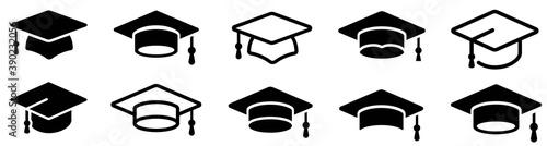 Obraz Graduation hat cap icons set. Academic cap. Graduation student black cap and diploma - stock vector. - fototapety do salonu
