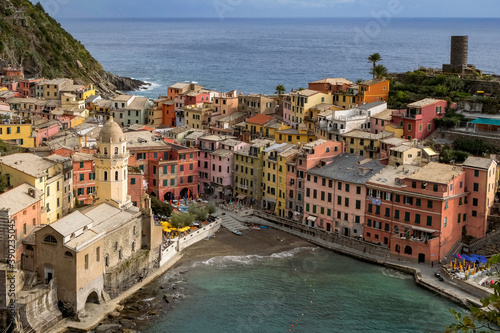 Fototapety, obrazy: Classic Postcard Aerial View of Vernazza, Cinque Terre, Italy - Colorful Houses and a Beautiful Natural Harbor with Bright Blue Water.
