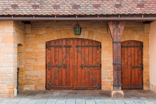 Old Textured Big Doors, Old Wall With Big Vintage Gates. Wooden Door From A Barn