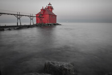 Red Lighthouse In Black And Wh...