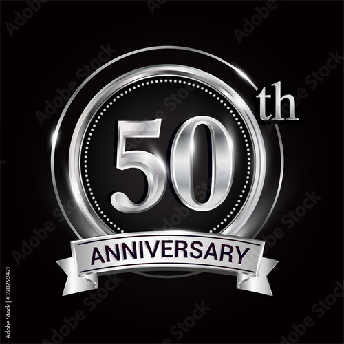 Canvas Print 50th silver anniversary logo with ribbon and ring