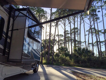 RV Campsite Surrounded By Tall Pines At St. Joseph Peninsula State Park On The Florida Panhandle.