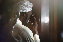 Muslim Man Having Worship And Praying In Islam Ceremony In Mosque