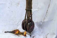 Closeup Of Old Rope Pulley Of ...