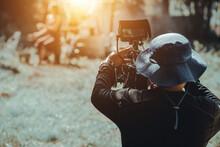 Behind Cameraman Operating Camera Shooting Movie