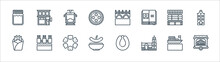 Holland Line Icons. Linear Set. Quality Vector Line Set Such As Barrel Organ, Church, Stamppot, French Fries, Cheese Market, Tram, Canal, Coffee Shop.