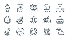 Baby And Toys Line Icons. Linear Set. Quality Vector Line Set Such As Bricks, Rattle, Baby Monitor, Baby Chair, Beach Ball, Bib, Tricycle, Mitten, Teddy Bear.