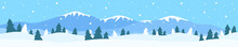 Winter Landscape Panorama With Mountain Snow Drifts Pine Trees