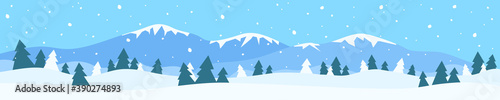 winter landscape panorama with mountain snow drifts pine trees Fototapet