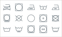 Laundry Line Icons. Linear Set. Quality Vector Line Set Such As Washing Machine, Tumble Dry, Wash, Tumble Dry, Clean, Tumble Dryer, Laundry, Laundry, Dry.
