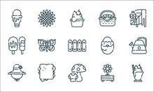 Spring Line Icons. Linear Set. Quality Vector Line Set Such As Milkshake, Mushroom, Hat, Flower, Sandwich, Ice Cream, Chick, Picnic Basket, Sunflower.