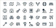 Travel Line Icons. Linear Set. Quality Vector Line Set Such As Swimming Pool, Ferris Wheel, Hot Air Balloon, Key, Money, Star, Flag, Passport, Lifejacket.