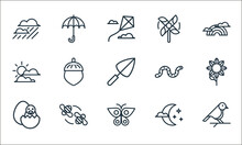 Spring Line Icons. Linear Set. Quality Vector Line Set Such As Bird, Butterfly, Small Chick, Midnight, Bee, Sunny, Worm, Pinwheel, Umbrella.