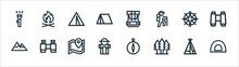 Outdoor Line Icons. Linear Set. Quality Vector Line Set Such As Camp, Trees, Adventurer, Mountain, Compass, Camp, Bag, Bonfire.