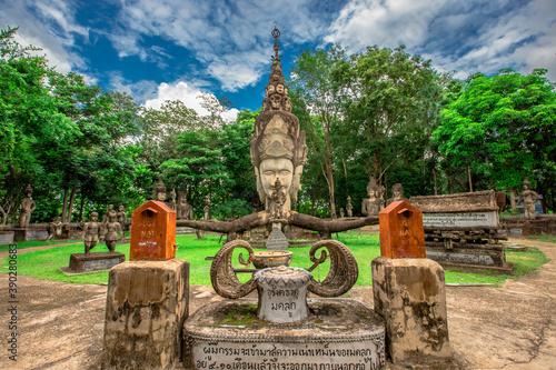 The background of the important religious sites in Nong Khai Province of Thailan Billede på lærred