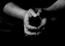 Grayscale Shot Of Male Hands W...