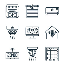 Smarthome Line Icons. Linear Set. Quality Vector Line Set Such As Laser Safety, Sprinkler, Smart Clock, Smarthome, Computer, Smoke Detector, Air Conditioning, Blinds.