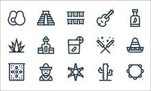 Cinco De Mayo Line Icons. Linear Set. Quality Vector Line Set Such As Jarocho, Pi?ata, Pennant, Cactus, Mexican, Agave, Sparkler, Double Bass, Chichen Itza Pyramid.