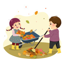 Vector Illustration Cartoon Of A Little Boy And Girl Raking The Leaves. Kids Doing Housework Chores At Home Concept.
