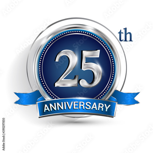 Canvastavla Celebrating 25th anniversary logo, with silver ring and ribbon isolated on white background