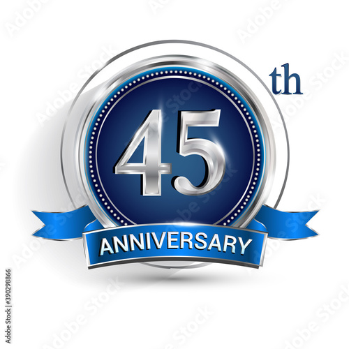 Canvas Print Celebrating 45th anniversary logo, with silver ring and ribbon isolated on white background
