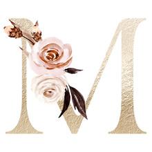 Floral Alphabet, Letter M With...