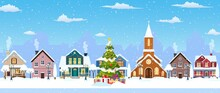 Happy New Year And Merry Christmas Winter Old Town Street. Christmas Town City Seamless Border Panorama. Vector Illustration In Flat Style