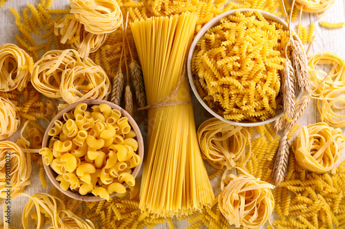 Tela assorted of raw pasta- top view