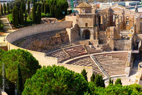 Fotografie, Obraz Ruins of roman amphitheater in Cartagena port city, Autonomous Community of Murc